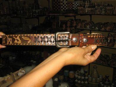 Handgemachter Dunkelbrauner Lederguertel Aus Peru Perushop24